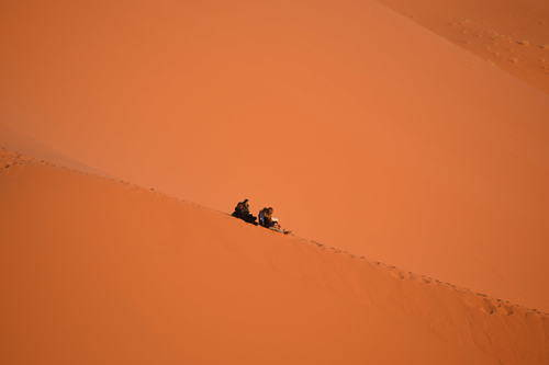People on Top of the Sand Dunes in Morocco, Travel