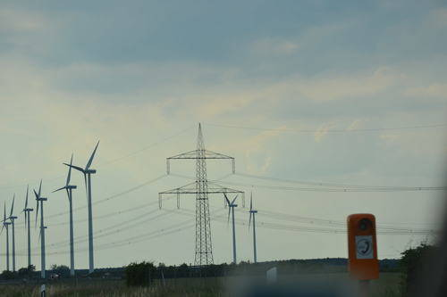 Power lines and wind turbines
