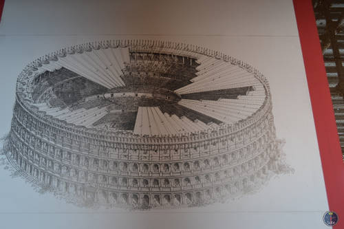 Blueprint of the Roman Colosseum, Rome, Italy
