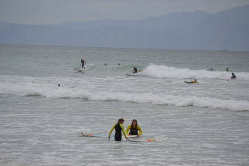 Surfers in Western Cape, South Africa