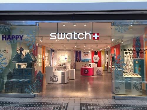 Stylish looking Show Window of Swatch with A Winter Theme on it