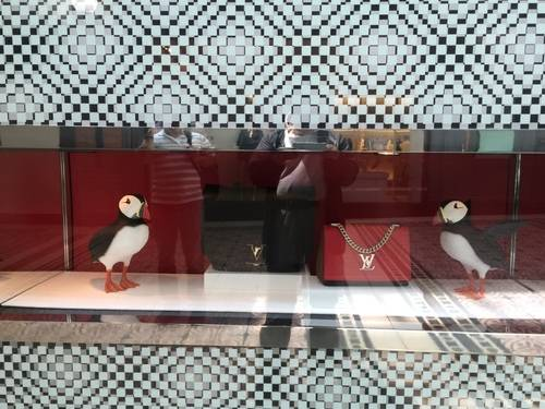 Show Window of LOUIS VUITTON with Bags and Penguins at V & A Waterfront Mall
