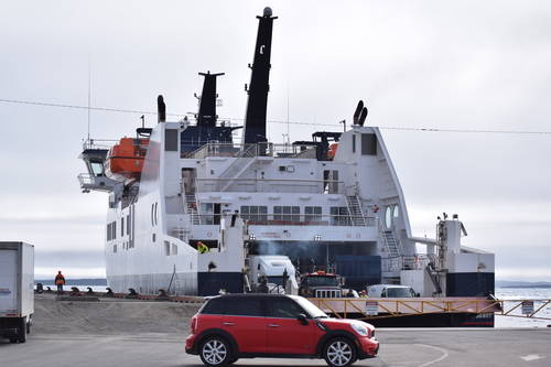 Car in front of a Ship/Boat at the Dock in Newfoundland, Vehicles