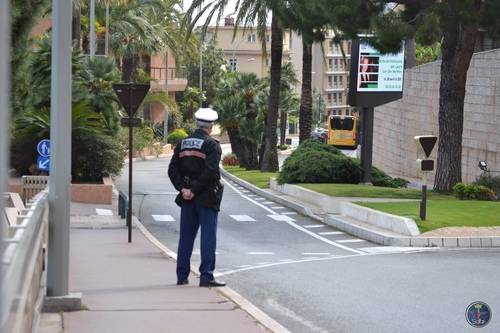 Police Officer Standing on the Street in Monte Carlo, Monaco