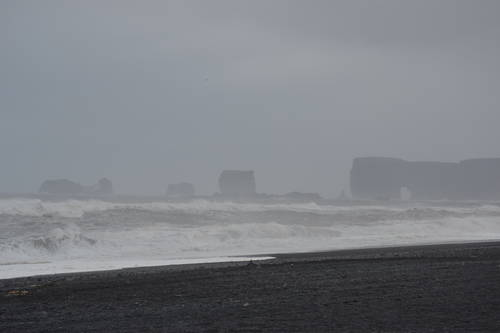 High Waves on the Rocky Beach in Iceland, Landscape