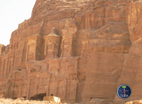 Carved Mountain Side in Petra and Wadi Rum, Jordan