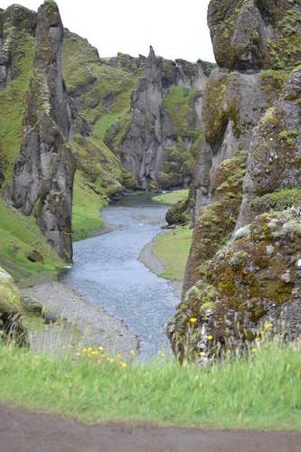 Mountain Side & River in Iceland, Landscape