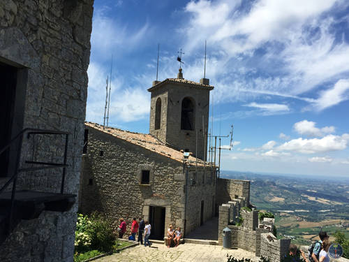 People Inside the Castle in San Marino, Italy