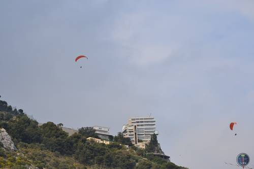 People Parachuting Over the Mountains of Monte Carlo, Monaco