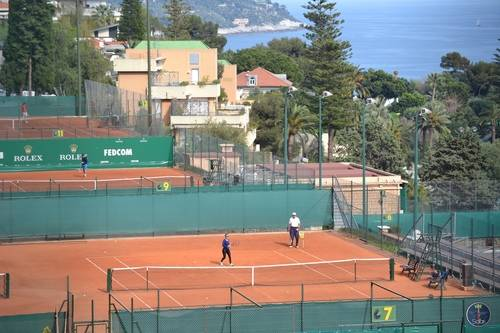 People Playing Tennis in Monte Carlo, Monaco