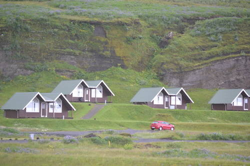 Houses on the Grassy Hills of Iceland, Landscape