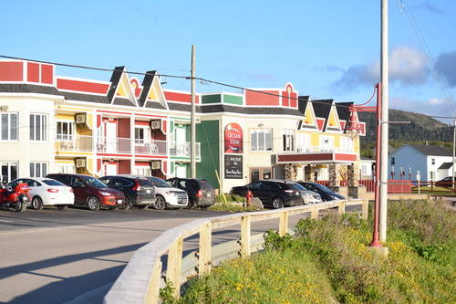 Colourful Shops & Hotels in Rocky Harbour, Newfoundland and Labrador, Canada